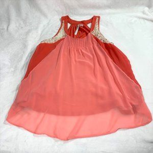 LC Lauren Conrad Sleeveless Coral Laces Tank XL